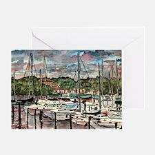 sailing fishing beach art dec Greeting Card