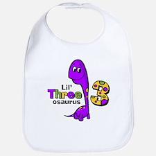 Purple Dinosaur 3rd Birthday Bib