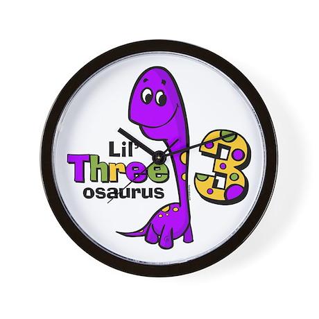 Purple Dinosaur 3rd Birthday Wall Clock