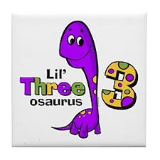 Purple Dinosaur 3rd Birthday Tile Coaster