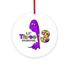 Purple Dinosaur 3rd Birthday Ornament (Round)