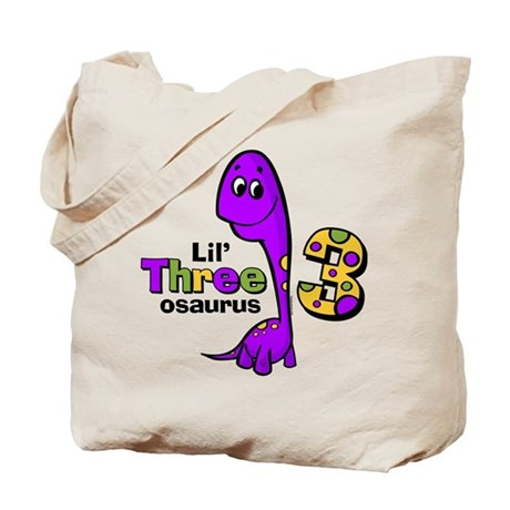 Purple Dinosaur 3rd Birthday Tote Bag