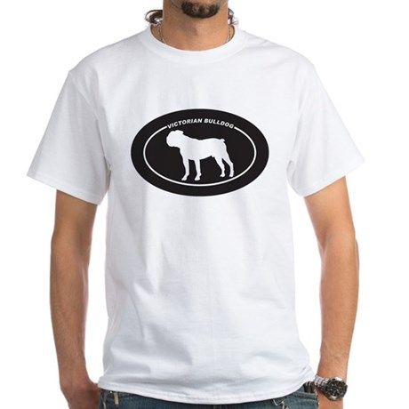 Victorian Bulldog Silhouette White T-Shirt