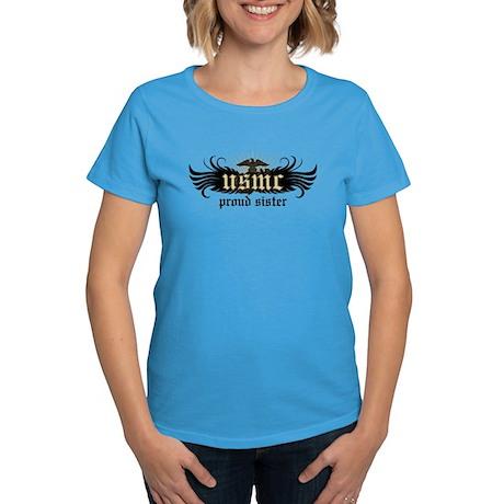 USMC Proud Sister Women's Dark T-Shirt