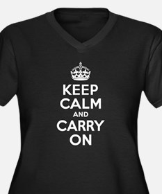 Keep Calm & Carry On Women's Plus Size V-Neck Dark