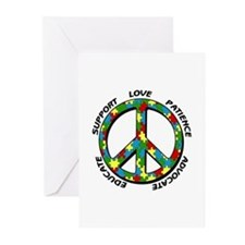 Autism Peace Sign Greeting Cards (Pk of 10)