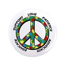 """Autism Peace Sign 3.5"""" Button (100 pack)"""