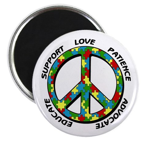 """Autism Peace Sign 2.25"""" Magnet (100 pack)"""