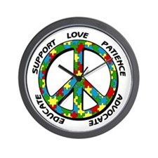 Autism Peace Sign Wall Clock