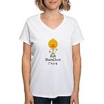 Marathon Chick 26.2 Women's V-Neck T-Shirt