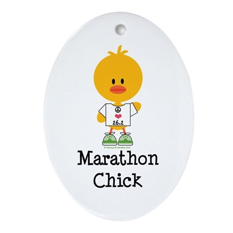 Marathon Chick 26.2 Ornament (Oval)