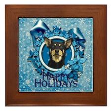 Blue Snowflakes - Kelpie Framed Tile