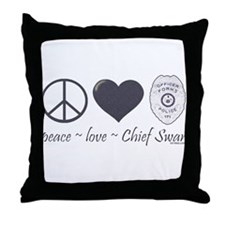 Peace Love Chief Swan Throw Pillow