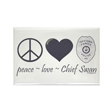 Peace Love Chief Swan Rectangle Magnet
