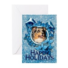 Blue Snowflake - Aussie Shep Greeting Cards (Pk of