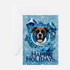 Blue Snowflakes - Boxer Greeting Cards (Pk of 20)