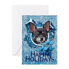 Blue Snowflakes - Chihuahua Greeting Card