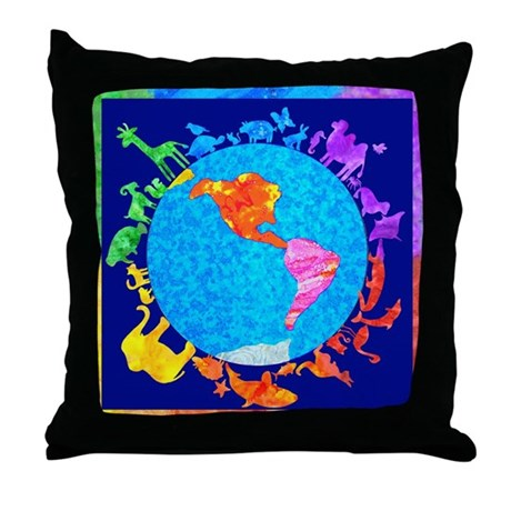 Peaceful Animal Kingdom Throw Pillow