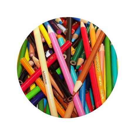 """Coloured Pencil 3.5"""" Button"""