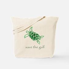 save the gulf - green sea tur Tote Bag