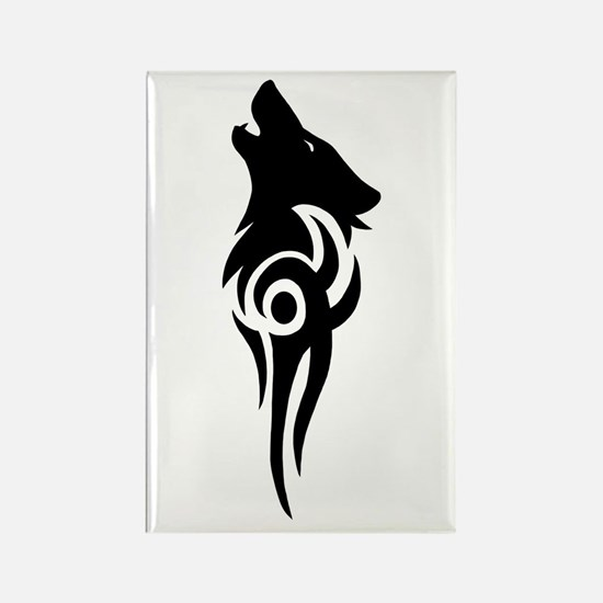 Cute Howling wolf Rectangle Magnet