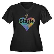Single (Rainbow) Women's Plus Size V-Neck Dark T-S