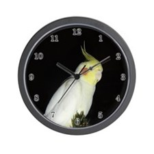 Lutino Cockatiel Wall Clock