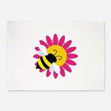 Bumble Bee on Flower 5'x7'Area Rug