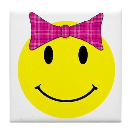 Happy Face Girl Tile Coaster