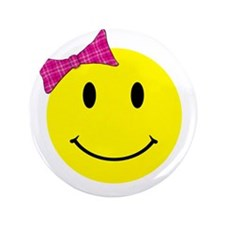 """Girl Happy Face 3.5"""" Button (100 pack)"""