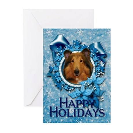 Blue Snowflakes - Collie Greeting Cards (Pk of 10)