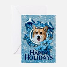Blue Snowflake - Corgi Greeting Card