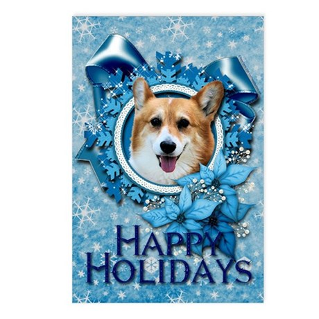 Blue Snowflake - Corgi Postcards (Package of 8)