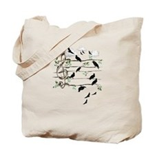 Musical Note Birds Tote Bag