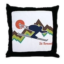 Ski Vermont Throw Pillow