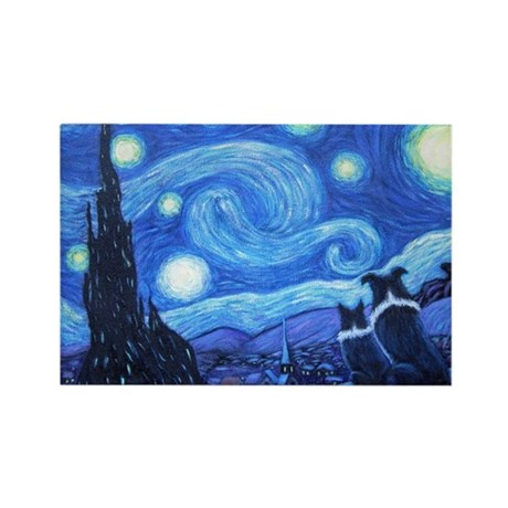 Starry Night Border Collies Rectangle Magnet