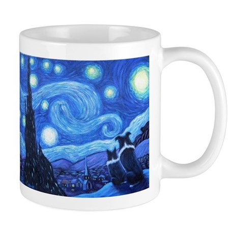 Starry Night Border Collies Mug Mugs