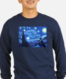 Starry Night Border Collies Long Sleeve T-Shirt