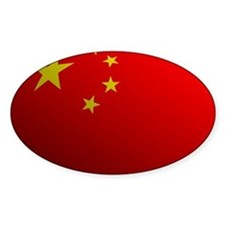 China Flag Rounded Oval Decal