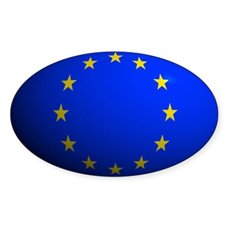 European Union Flag Rounded Oval Sticker