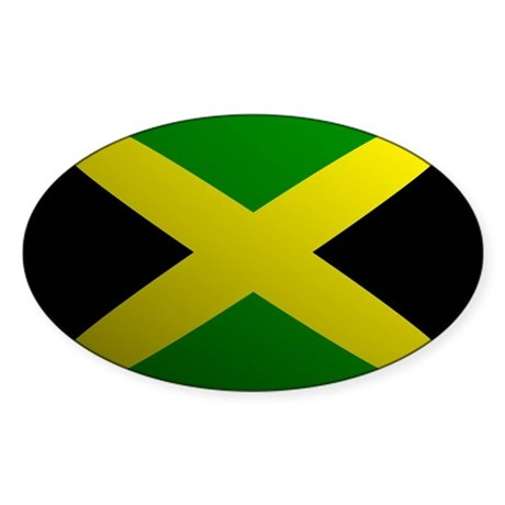 Jamaica Flag Rounded Oval Sticker