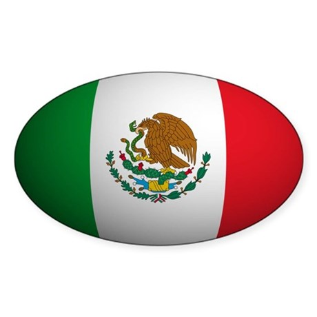 Mexico Flag Rounded Oval Sticker