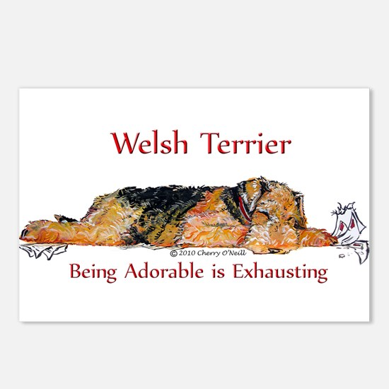 Exhausted Welsh Terrier Postcards (Package of 8)