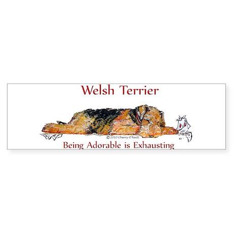 Exhausted Welsh Terrier Sticker (Bumper)