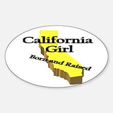 California Girl, Born & Raise Oval Decal