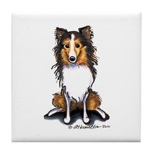 Sable Sheltie Lover Tile Coaster