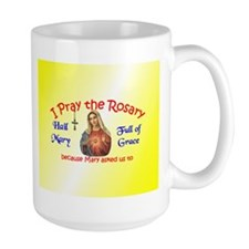 Pray the Rosary - Large Coffee Mug (k)