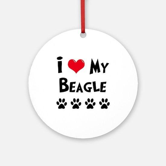 I Love My Beagle Ornament (Round)