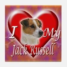 I Love My Jack Russell Tile Coaster