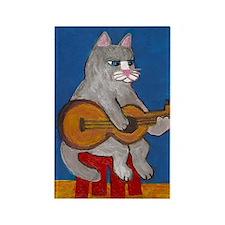 Cat on Guitar Rectangle Magnet